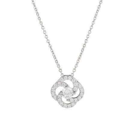 Diamonique 1.4ct tw Loop Circle Pendant & Chain Sterling Silver