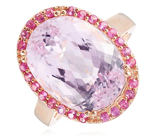 11.50ct Kunzite & 0.50ct Pink Sapphire Cocktail Ring 9ct Gold