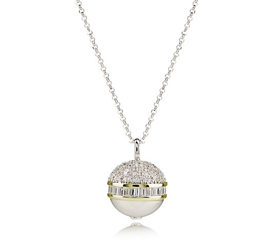 Diamonique 2.2ct tw Pave Baguette Orb Pendant & Chain Sterling Silver