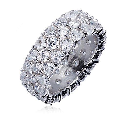 Diamonique 5ct tw Trillion Cut Eternity Ring Sterling Silver