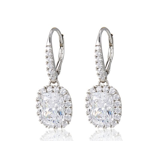 Diamonqiue 8.9ct tw Radiant Cut Earrings Sterling Silver