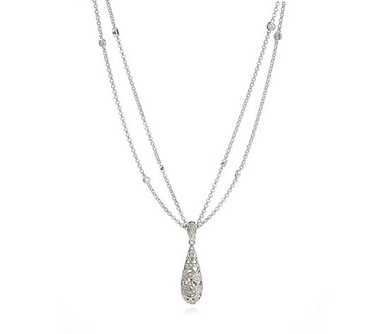 0.50ct Estate Collection Bomber Drop Pendant 45cm Necklace Sterling Silver