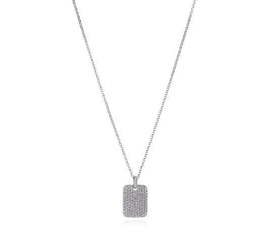 Escape by Melissa Odabash Pave Tag Pendant & Chain Sterling Silver