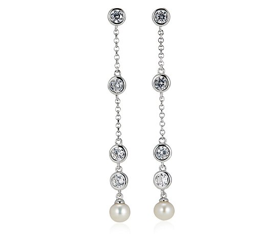 Diamonique 0.8ct tw Pearl Bezel Drop Earrings Sterling Silver