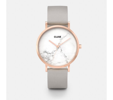 Cluse La Roche Marble Face Leather Strap Watch