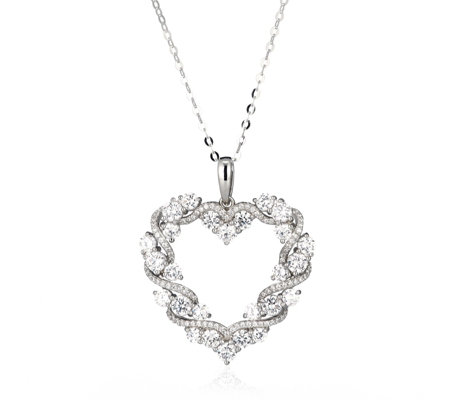 Diamonique 4.6ct tw Entwined Heart Pendant & 45cm Chain Sterling Silver