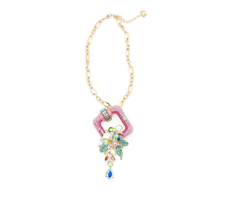 Butler & Wilson Crystal Square & Flowers 41cm Necklace