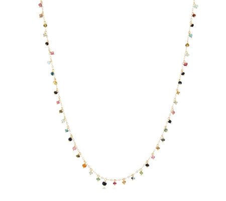 Lisa Snowdon Mutli Tourmaline Charm 85cm Necklace Sterling Silver