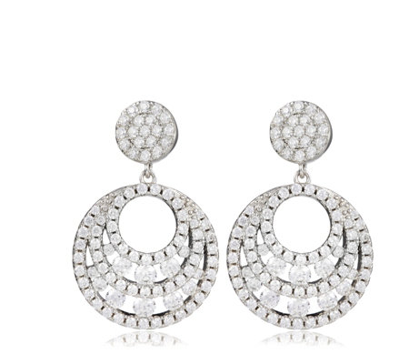 Diamonique 2.2ct tw Round Cut Out Drop Earrings Sterling Silver