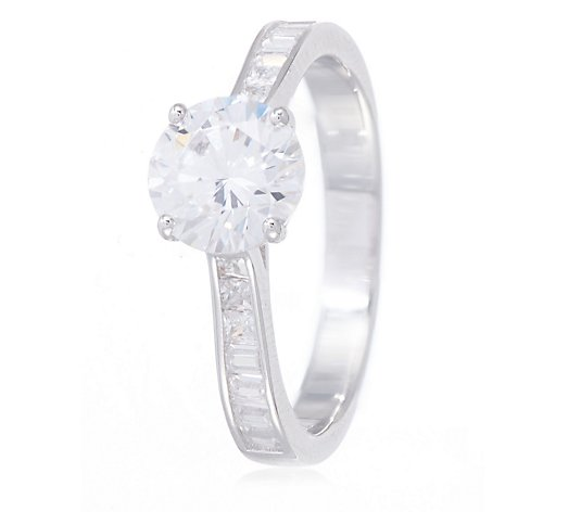 Diamonique 2.2ct tw Solitaire & Baguette Ring Sterling Silver