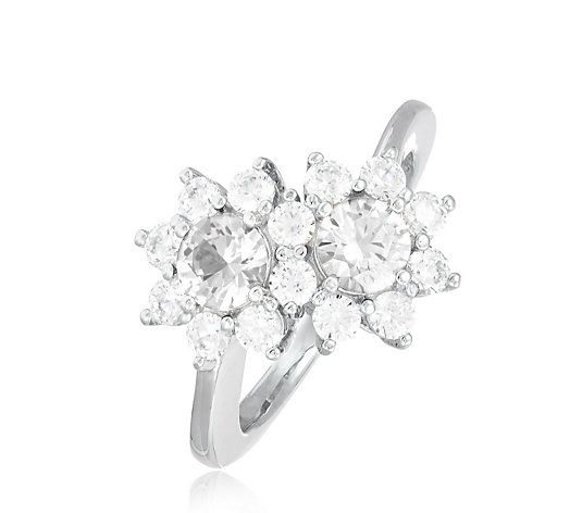 Diamonique 1.7ct tw Cluster Flower Ring Sterling Silver