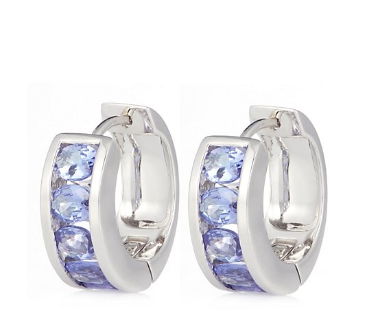 1.50ct AA-AAA Tanzanite Oval Huggie Hoop Earrings 14ct Gold