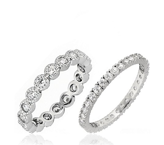 Diamonique 1.4ct tw Textured Eternity Ring Set Sterling Silver