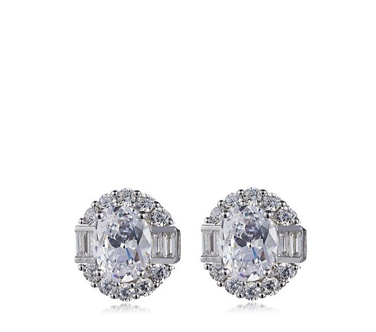 Diamonique 7.8ct tw Mix Cut Stud Earrings Sterling Silver