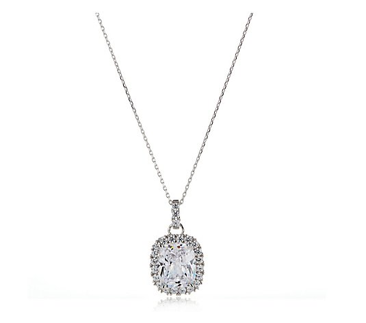 Diamonqiue 6.4ct tw Radiant Cut Pendant & Chain Sterling Silver