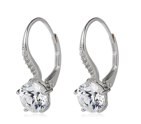 Diamonique 3ct tw Fixed Leverback Earrings Sterling Silver