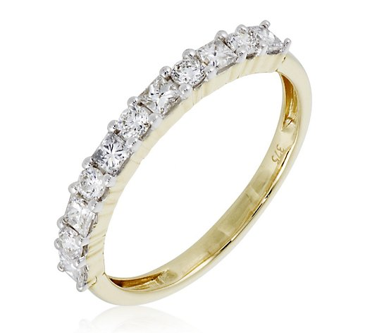 0.50ct Diamond Princess & Brilliant Cut Eternity Ring 9ct Gold