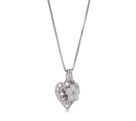 D for Diamond Filigree Heart & Flower 36cm Necklace Sterling Silver