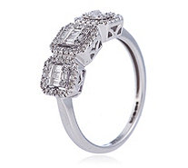 0.33ct Diamond Mixed Cut Rectangular Halo Trilogy Ring 9ct Gold - 336312