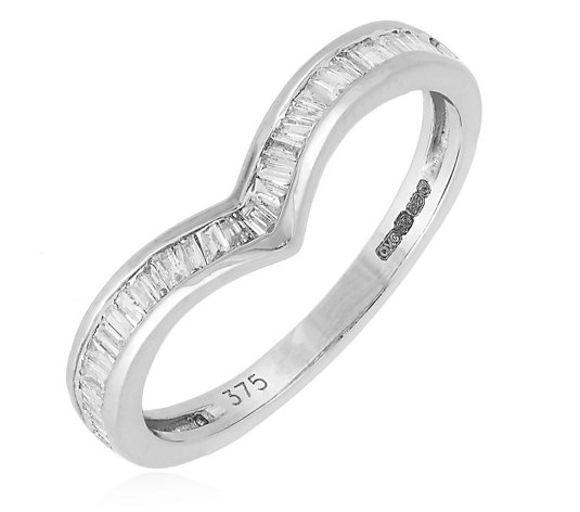 0.20ct Diamond Baguette Cut Wishbone Ring 9ct Gold