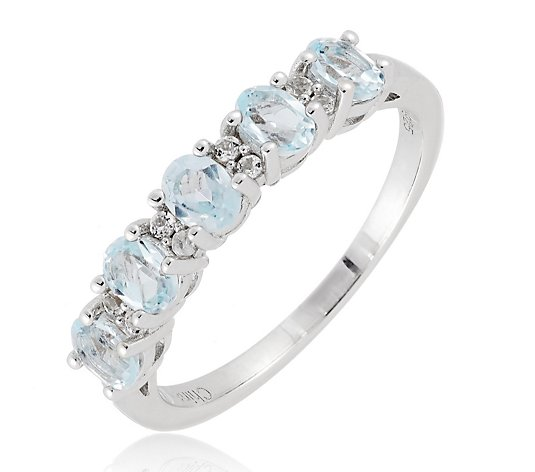 0.75ct Blue Topaz Half Eternity Ring Sterling Silver