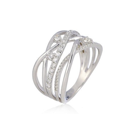 0.50ct Diamond Open Crossover Ring 9ct Gold