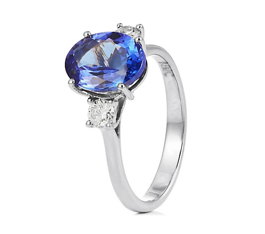 2.75ct AAAA Tanzanite Oval & 0.30ct Diamond 3 Stone Ring 18ct Gold