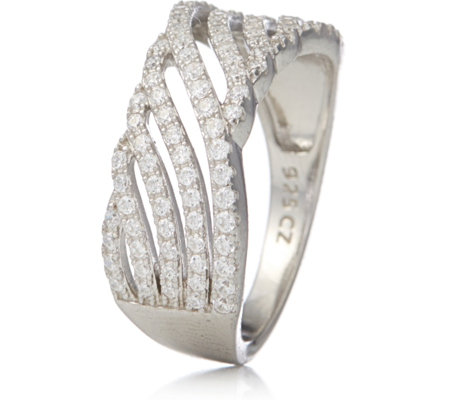 Michelle Mone for Diamonique 0.5ct tw Pave Twist Ring Sterling Silver