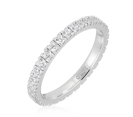 Diamonique 0.7ct tw Platinum Plated Eternity Ring Sterling Silver