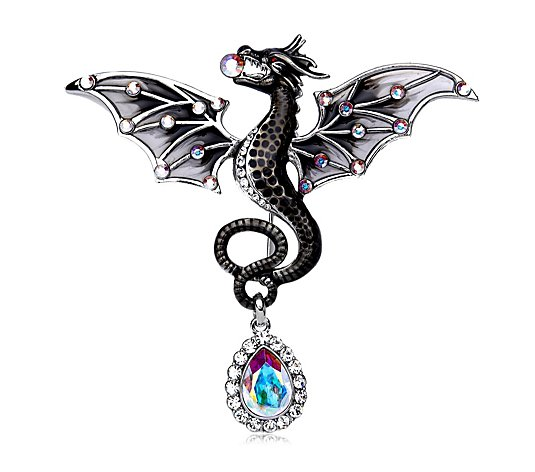 Butler & Wilson Dragon with Crystal Drop Brooch