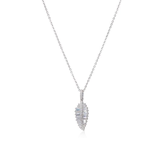 Diamonique 0.8ct tw Baguette Feather Pendant & Chain Sterling Silver