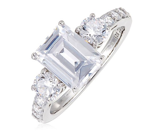 Diamonique 3.3ct tw Trilogy Ring Stering Silver