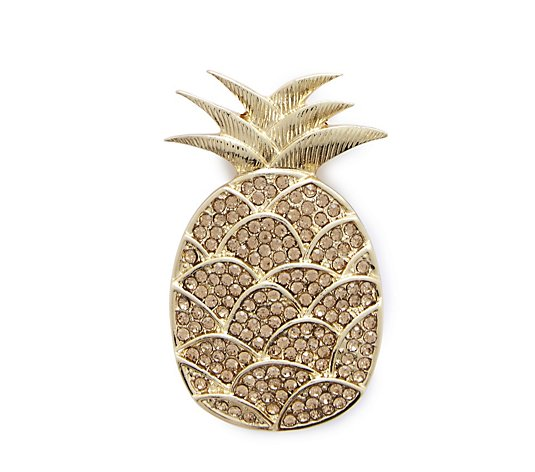 Frank Usher Crystal Pineapple Magnetic Brooch