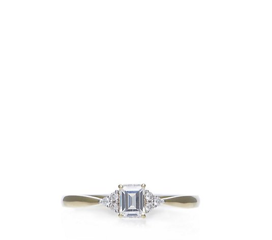 Outlet Diamonique 0.4ct tw Emerald Cut Solitaire Ring 9ct Gold
