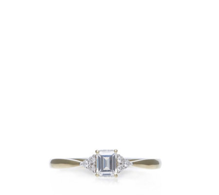 Diamonique 0.4ct tw Emerald Cut Solitaire Ring 9ct Gold