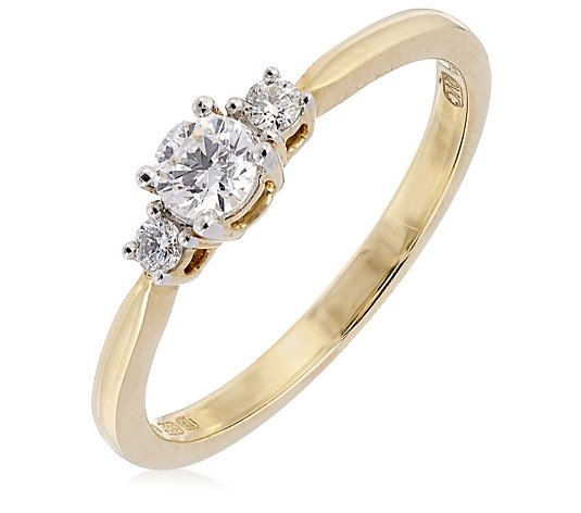 0.30ct Diamond VVS2 Trilogy Ring 14ct Gold