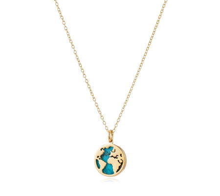 Lisa Snowdon Turquoise World Map Pendant & 50cm Chain Sterling Silver