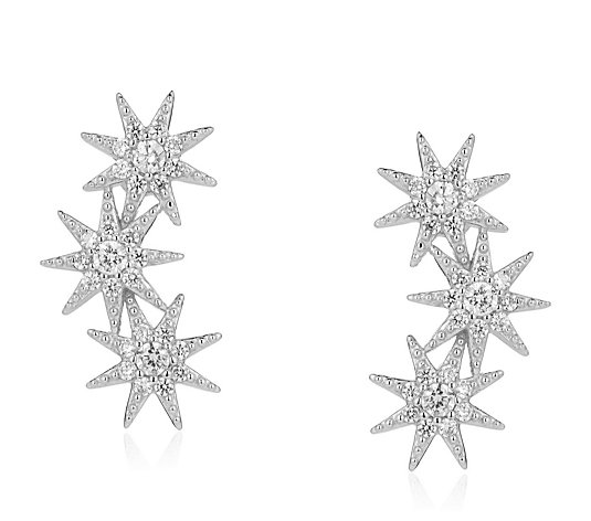 Diamonique 0.3ct tw Star Earclimbers Sterling Silver