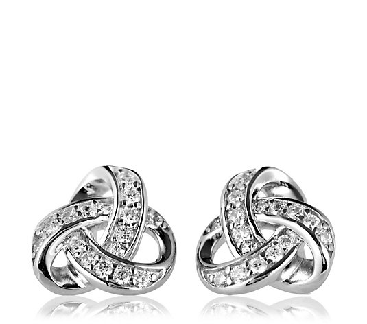 Diamonique 0.3ct tw Knot Stud Earrings Sterling Silver