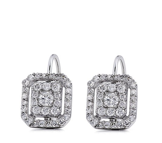 0.50ct Diamond Rectangular Cluster Leverback Earrings 9ct Gold