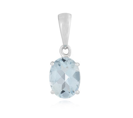 1.10ct Aquamarine Oval Pendant 14ct Gold