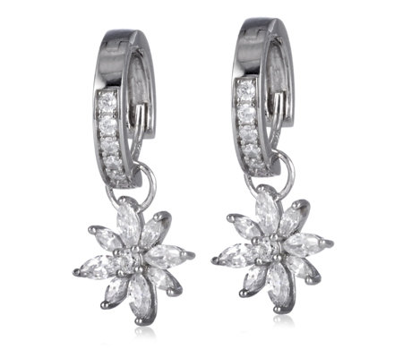 Diamonique 1.2ct tw Flower Charm Pave Huggie Earrings Sterling Silver