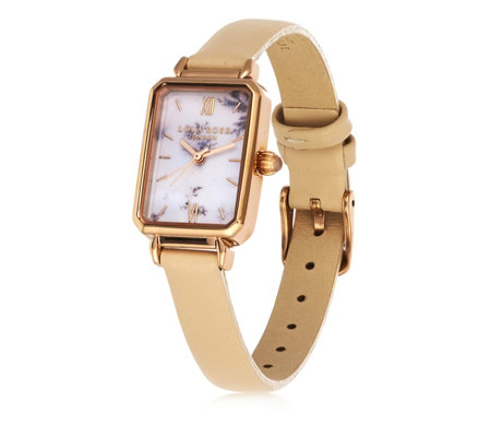 Lola Rose Rectangle Printed Dial Watch with Leather Strap