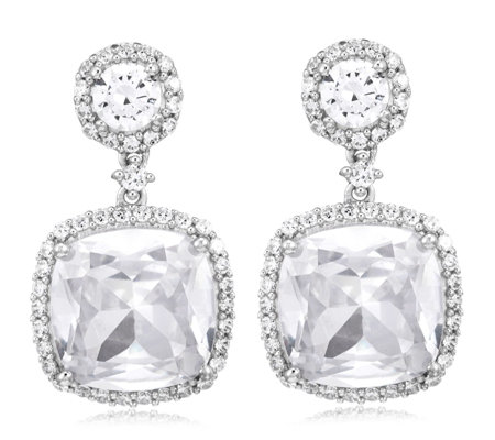 Michelle Mone for Diamonique 9.94ct tw Cushion Cut Earrings Sterling Silver