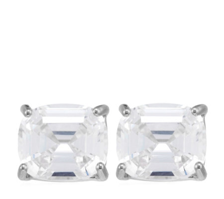 Diamonique by Tova 7ct tw Asscher Cut Stud Earrings Sterling Silver