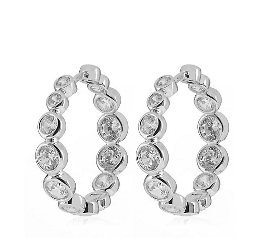 Diamonique 3.5ct tw Bezel Set Hoop Earrings Sterling Silver