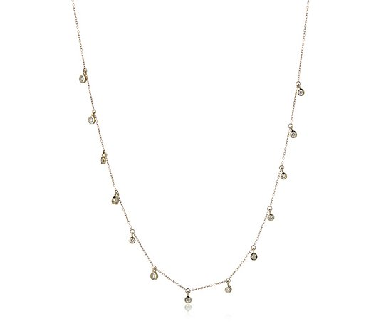 0.50ct Diamond Station 45cm Necklace 9ct Gold