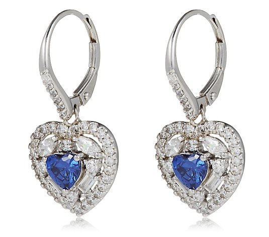 Diamonique 3.1ct tw Heart Mixed Cut Leverback Earrings Sterling Silver