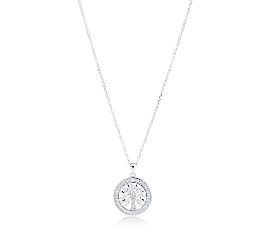 Diamonique 1.1ct tw Tree of Life Pendant & Chain Sterling Silver