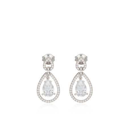 Michelle Mone for Diamonique 3.4ct tw Pear Cut Drop Earrings Sterling Silver
